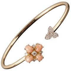 Veschetti 18 Karat Yellow and White Gold, Coral, Diamond Bracelet