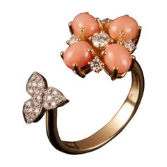 Veschetti 18 Karat Yellow and White Gold, Coral, Diamond Ring