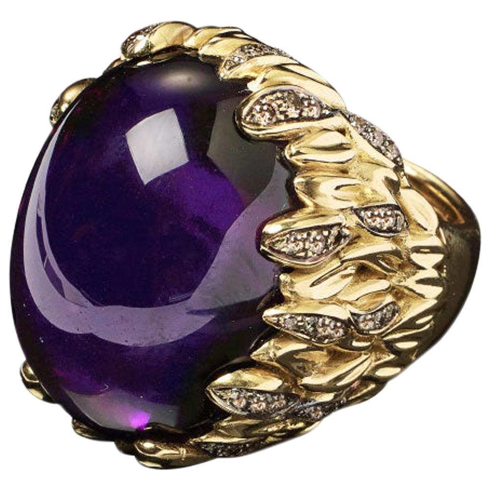 Veschetti 18 Karat Yellow Gold Amethyst Diamond Cocktail Ring
