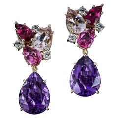 Veschetti 18 Karat Yellow Gold, Amethyst, Morganite, Rubellite, Diamond Earrings