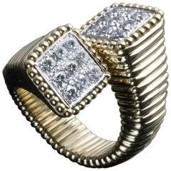 Veschetti 18 Karat Yellow Gold and Diamond Ring