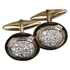 Veschetti 18 Karat Yellow Gold Black Enamel Diamond Cufflinks