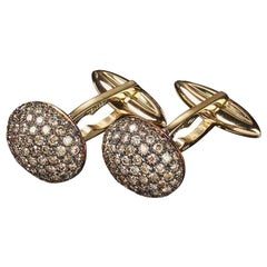 Veschetti 18 Karat Yellow Gold Brown Diamond Cufflinks