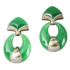 Veschetti 18 Karat Yellow Gold, Burmese Jade, Diamond Dangle Earrings