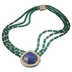 Veschetti 18 Karat Yellow Gold, Burmese Sapphire, Emerald, Diamond Necklace