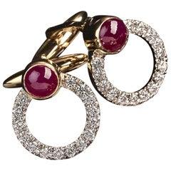 Veschetti 18 Karat Yellow Gold Cabochon-Cut Ruby Diamond Cufflinks