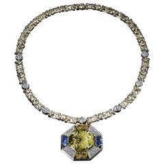 Veschetti 18 Karat Yellow Gold Citrine Yellow and Blue Sapphire Diamond Necklace