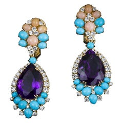 Veschetti 18 Karat Yellow Gold, Coral, Turquoise, Amethyst, Diamond Earrings