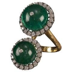 Veschetti 18 Karat Yellow Gold Emerald Diamond Cocktail Ring