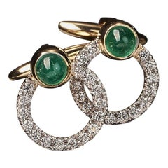 Veschetti 18 Karat Yellow Gold Emerald Diamond Cufflinks