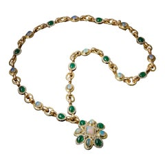 Veschetti 18 Karat Yellow Gold Emerald Opal Diamond Pendant Necklace
