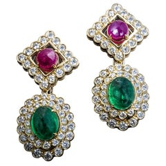 Veschetti 18 Karat Yellow Gold, Emerald, Ruby, Diamond Earrings