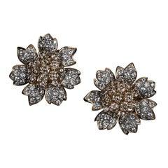 Veschetti 18 Karat Yellow Gold, Fancy Brown and White Diamond Earrings