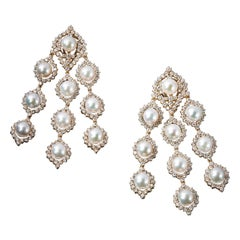 Veschetti 18 Karat Yellow Gold, Gem Quality Pearl, Diamond Earrings