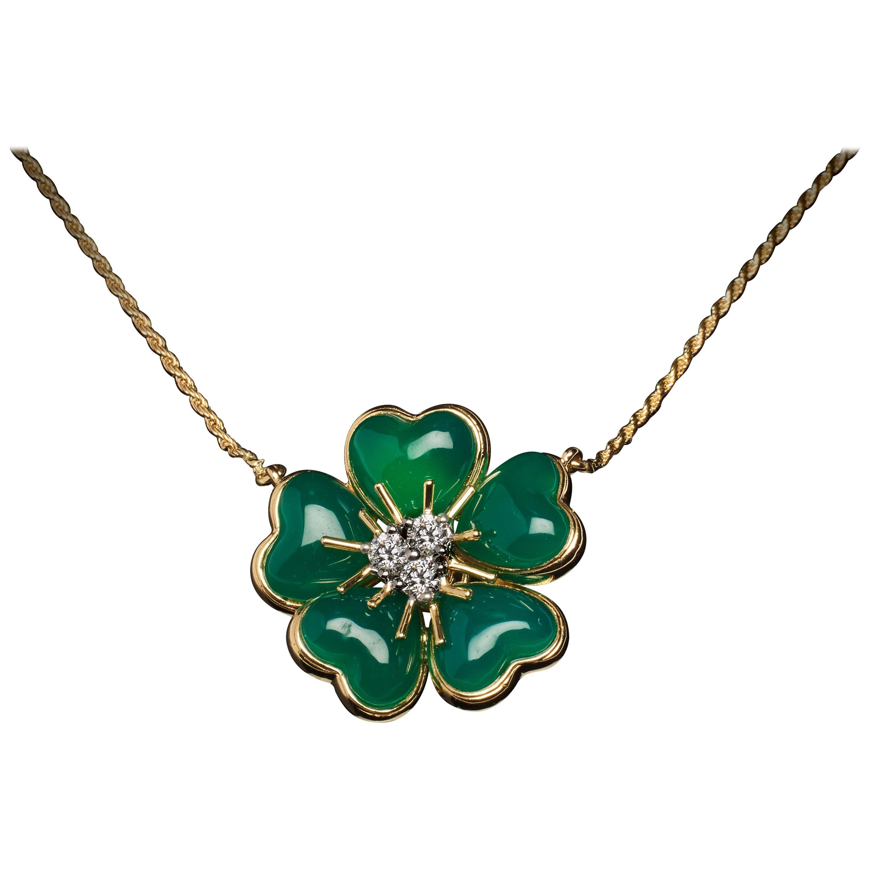 Veschetti 18 Karat Yellow Gold Green Agate Diamond Necklace