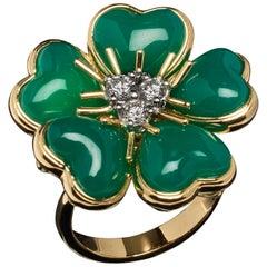 Veschetti 18 Karat Yellow Gold Green Agate Diamond Ring