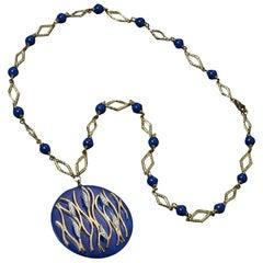Veschetti 18 Karat Yellow Gold, Lapis Lazuli and Diamond Pendant Necklace