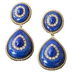 Veschetti 18 Karat Yellow Gold, Lapis Lazuli, Diamond Earrings