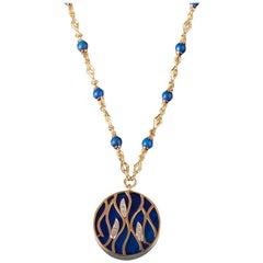 Veschetti 18 Karat Yellow Gold, Lapis Lazuli, Diamond Necklace
