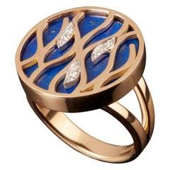 Veschetti 18 Karat Yellow Gold, Lapis Lazuli, Diamond Ring