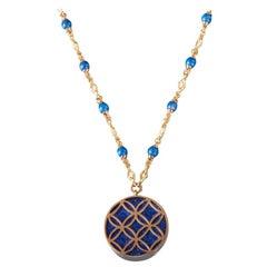 Veschetti 18 Karat Yellow Gold, Lapis Lazuli Necklace