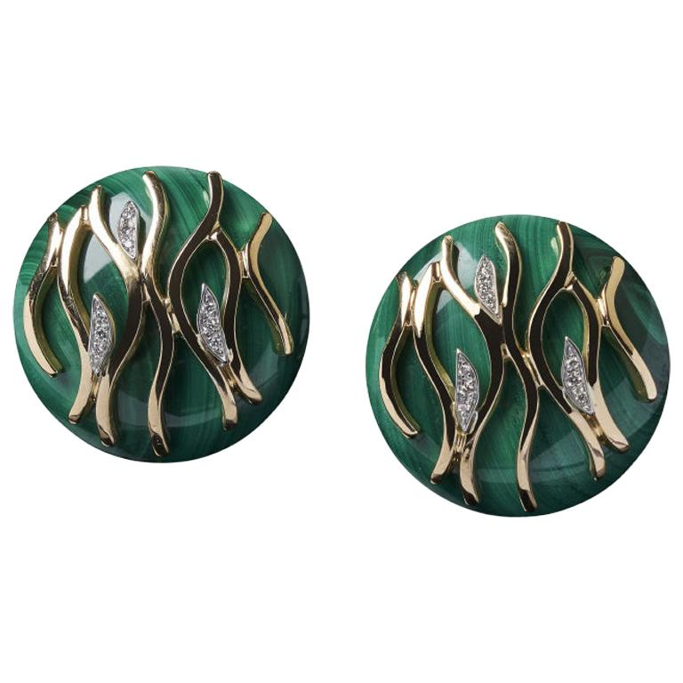 Veschetti 18 Karat Yellow Gold, Malachite, Diamond Earrings