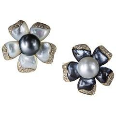 Veschetti 18 Kt Yellow Gold, Mother of Pearl, Tahiti & South Sea Pearl Earrings