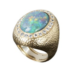 Veschetti 18 Karat Yellow Gold, Multicolor Opal, Diamond Cocktail Ring