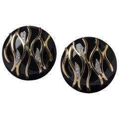 Veschetti 18 Karat Yellow Gold, Onyx, Diamond Earrings
