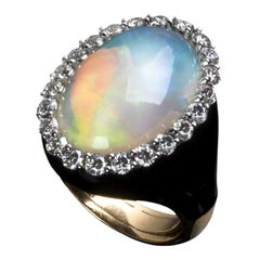 Veschetti 18 Karat Yellow Gold, Opal, Diamond Ring