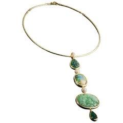 Veschetti 18 Karat Yellow Gold, Opal, Jade, Emerald, Diamond Necklace