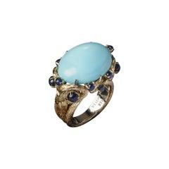 Veschetti 18 Karat Yellow Gold, Persian Turquoise, Sapphire Ring