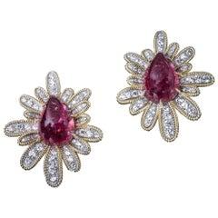 Veschetti 18 Karat Yellow Gold, Rubellite, Diamond Earrings