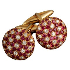 Veschetti 18 Karat Yellow Gold Ruby Diamond Cufflinks
