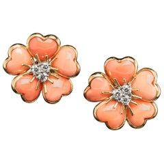 Veschetti 18 Karat Yellow Gold Salmon Pink Coral Diamond Earrings