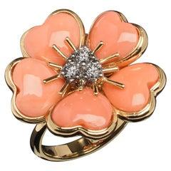 Veschetti 18 Karat Yellow Gold Salmon Pink Coral Diamond Ring
