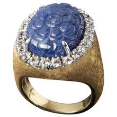 Veschetti 18 Karat Yellow Gold Sapphire Diamond Cocktail Ring