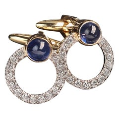 Veschetti 18 Karat Yellow Gold Sapphire Diamond Cufflinks