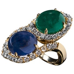 Veschetti 18 Karat Yellow Gold Sapphire Emerald Diamond Cocktail Ring
