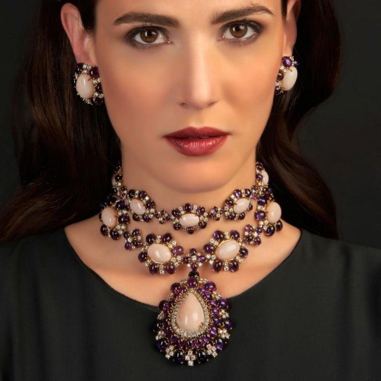 Contemporary Veschetti 18 Karat Yellow Gold, Skin Angel Coral, Amethyst, Diamond Earrings For Sale