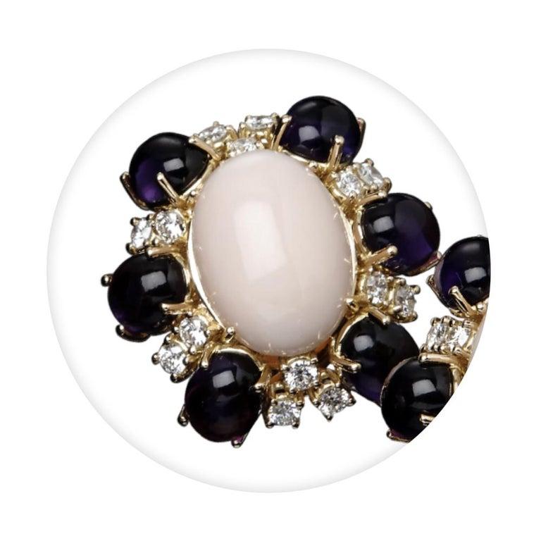 Cabochon Veschetti 18 Karat Yellow Gold, Skin Angel Coral, Amethyst, Diamond Earrings For Sale
