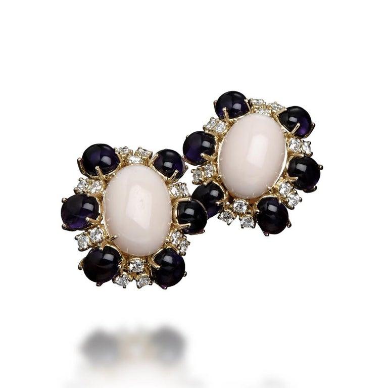 Veschetti 18 Karat Yellow Gold, Skin Angel Coral, Amethyst, Diamond Earrings In New Condition For Sale In Brescia, IT
