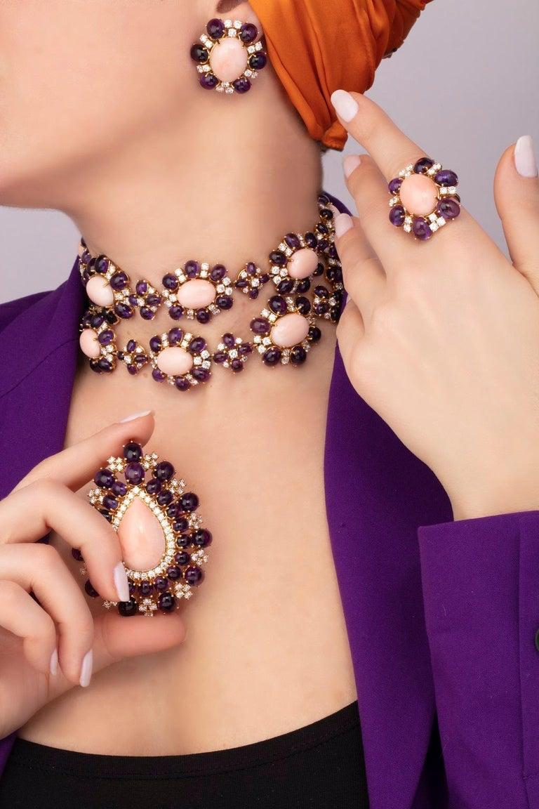 Women's Veschetti 18 Karat Yellow Gold, Skin Angel Coral, Amethyst, Diamond Earrings For Sale