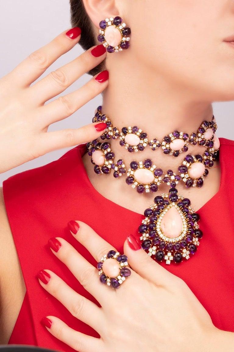 Veschetti 18 Karat Yellow Gold, Skin Angel Coral, Amethyst, Diamond Earrings For Sale 1
