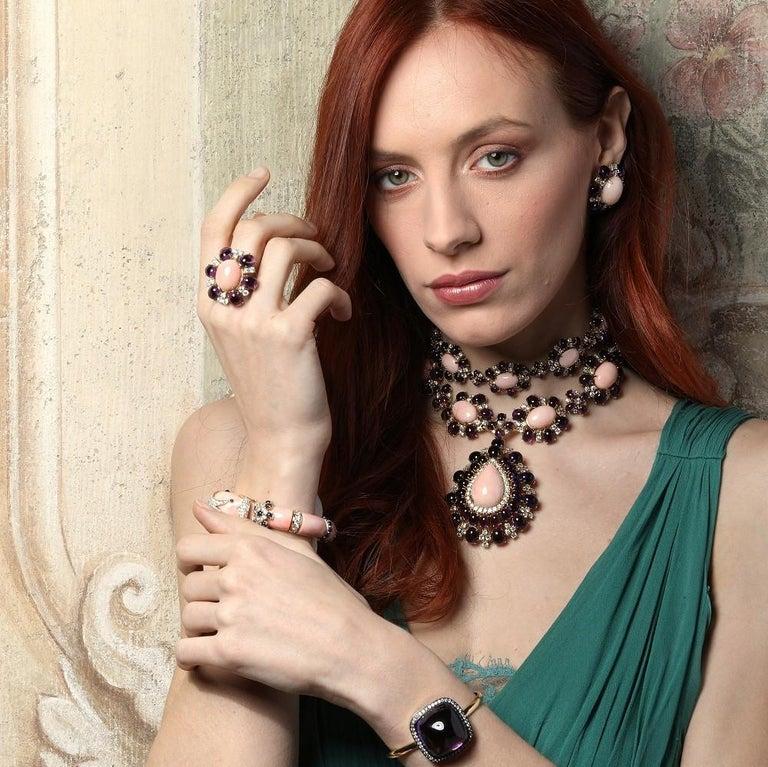 Veschetti 18 Karat Yellow Gold, Skin Angel Coral, Amethyst, Diamond Earrings For Sale 2