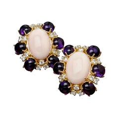Veschetti 18 Karat Yellow Gold, Skin Angel Coral, Amethyst, Diamond Earrings