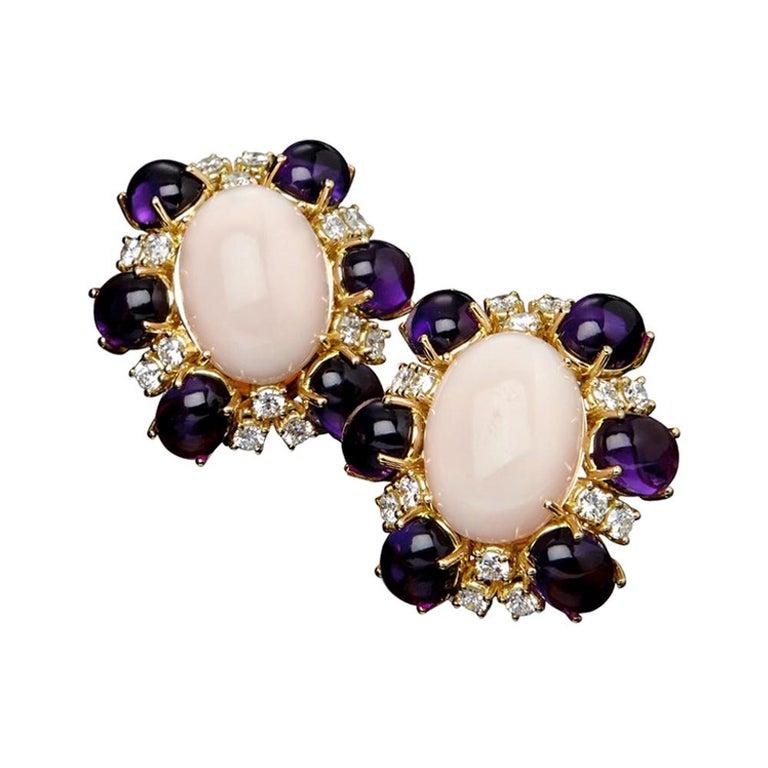 Veschetti 18 Karat Yellow Gold, Skin Angel Coral, Amethyst, Diamond Earrings For Sale