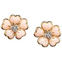 Veschetti 18 Karat Yellow Gold Skin Angel Coral Diamond Earrings