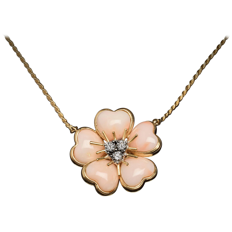 Veschetti 18 Karat Yellow Gold Skin Angel Coral Diamond Necklace