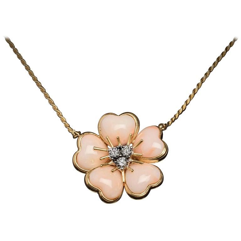 Veschetti 18 Karat Yellow Gold Skin Angel Coral Diamond Necklace For Sale